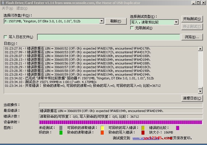 USB Flash Drive Tester的测试结果截图