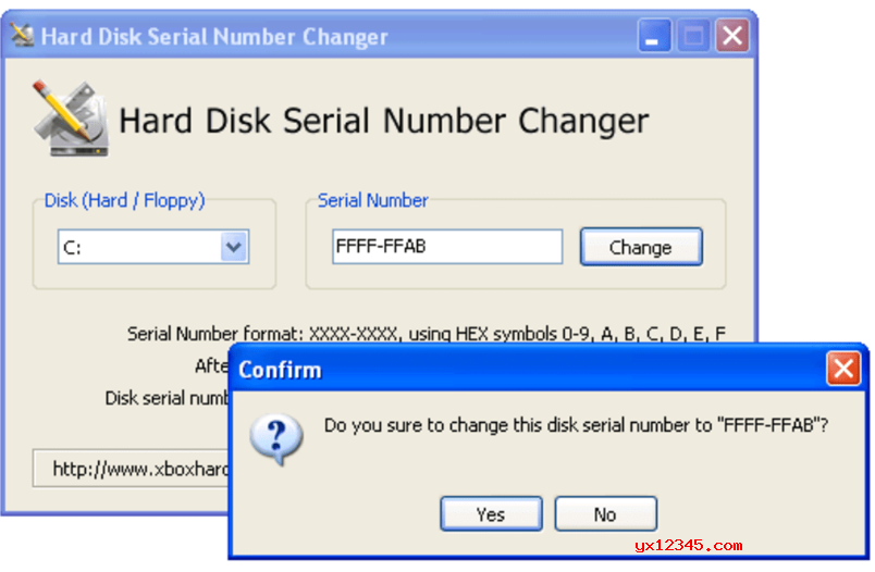 Hard Disk Serial Number Changer英文官方界面截图