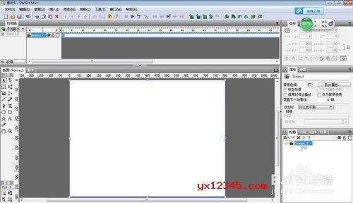打开swishMax 4,第一步创建一个新电影,设置一下画布大小。