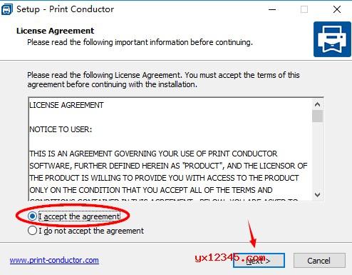 "选择""I accept the agreement""同意软件安装许可协议。"