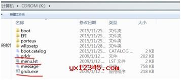 复制grldr文件与grub.exe文件,与menu.lst文件到U盘根目录。