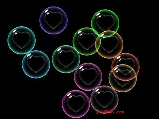 七彩心形泡泡屏保效果2