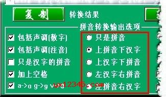 支持修改汉字转换成拼音显示结果的方式,例如:上拼音下汉字,只是拼音,上汉子下拼音,左汉子右拼音,左拼音右汉子。