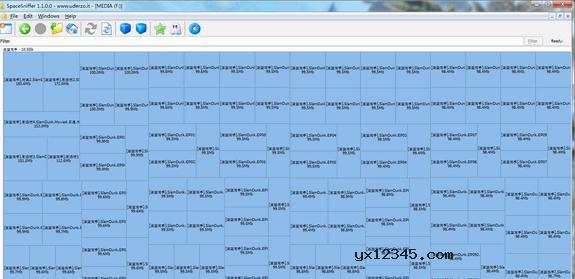 等一下SpaceSniffer就分析完了,而后会使用区块大小来表示文件占用硬盘的大小,橙色表示磁盘,褐色表示文件夹,蓝色表示文件。