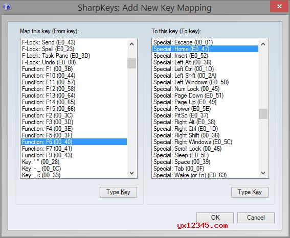 """运行sharpkeys汉化中文版,单击""""添加""""按钮,而后从左侧列中,选择要映射的键。而后从右列中选择要用作新键的键,最后保存即可"""