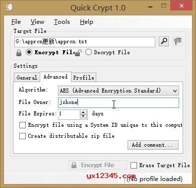 运行Quick Crypt,加入文件,设置高级选项,如果要设置过期时间可以自己设置