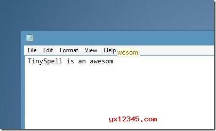 tinySpell提示英文拼写错误效果截图