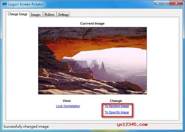 打开Logon Screen Rotator软件,点击《To Random Image》会自动随机更换你现在系统中图片来做为底部图片,如果点击《To Specific Image》就是手动选择图片。
