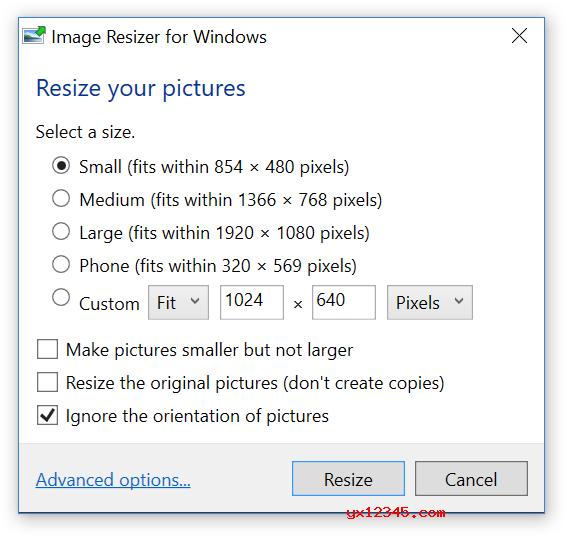 安装完 Image Resizer for Windows 后没有主界面,当你选中要调整大小的图片后,点击鼠标右键,你会发现多了一个《Resize pictures》的菜单。点击菜单,这个时候会弹出一个设置框,里面包含了预设的大、中、小规格的图片,或者你可以使用一个自定义的大小。