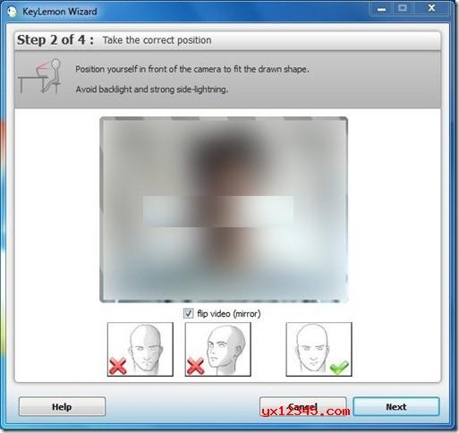"""确保您的电脑摄像头可以正常工作的前提下,下载keylemon破解版进行安装。安装完后直接打开keylemon向导中,选择您的网络摄像头,并将自己放在相机前面以适合绘制的形状。单击""""下一步""""按钮继续。"""