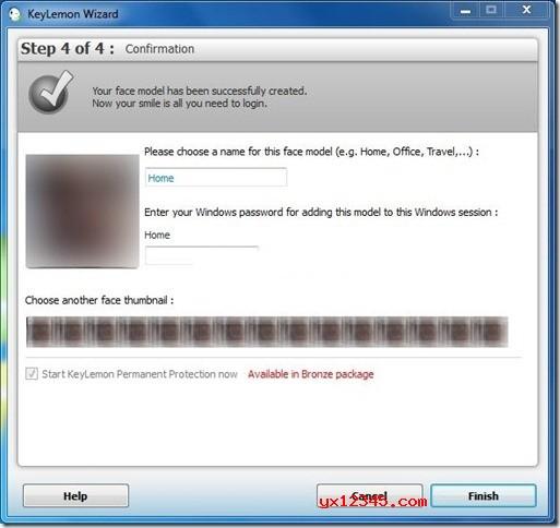 输入面部模型的名称,还需要输入Windows用户帐户密码才可以将新创建的面部模型添加到Windows。