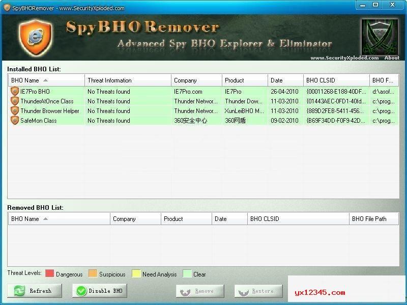 浏览器劫持程序清除工具_SpyBHORemover