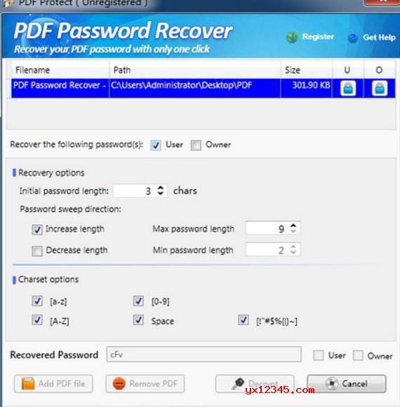 PDF密码恢复软件_PDF Password Recover