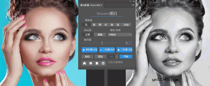 彩色照片转黑白照片PS插件_VitaminBW中文汉化版