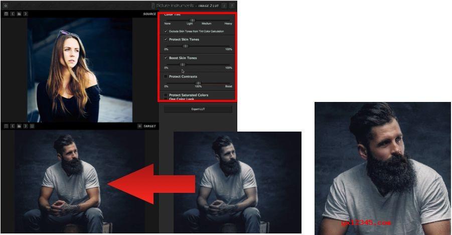 修改画面的肤色调节选项即可将肤色找回,同时营造出类似的风格。