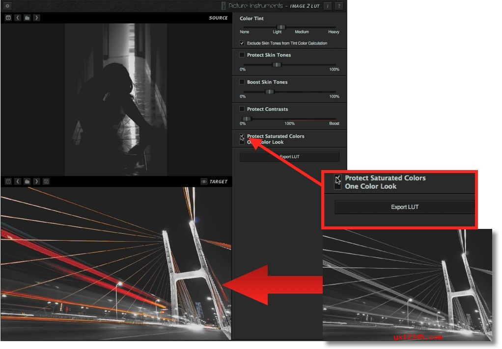 Protect Saturated Colors选项可以将画面中的部分饱与度区域内的颜色保留下来,选择后,画面中的红色部分的霓虹灯光颜色被找了回来。