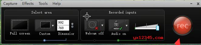 """打开进入到软件的主界面,点击""""Record the screen""""(录制屏幕)。"""