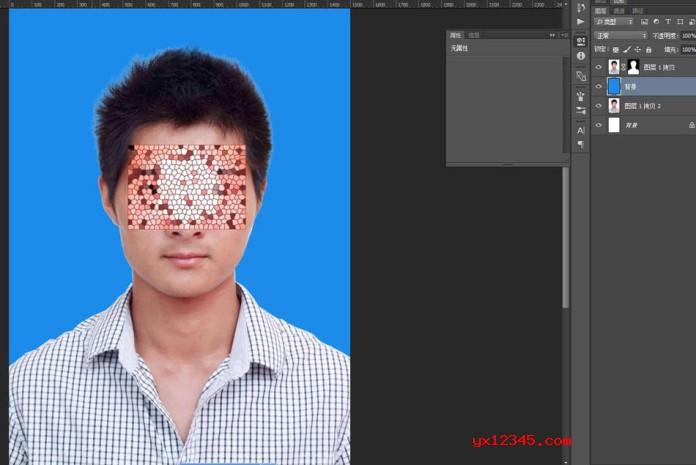 设置好后点击确定,退出蒙版界面,而后给白色的背景换成别的颜色,可在图层面板中点击白色图层,而后按住ctrl+delete键进行染色。