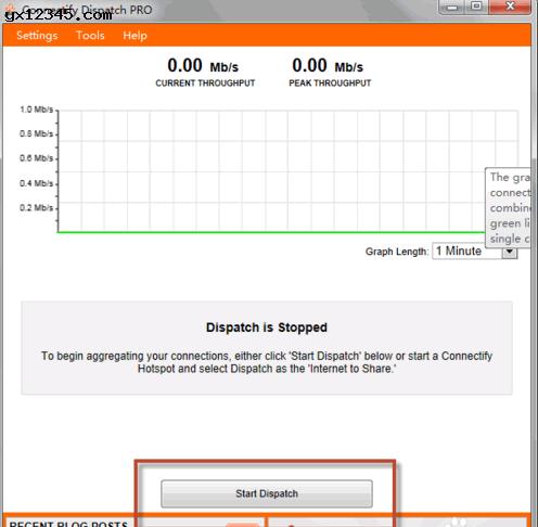 点击start dispatch启动多条宽带合并叠加。