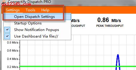 点击右键会显示show connecity dispatch菜单,可以进行设置