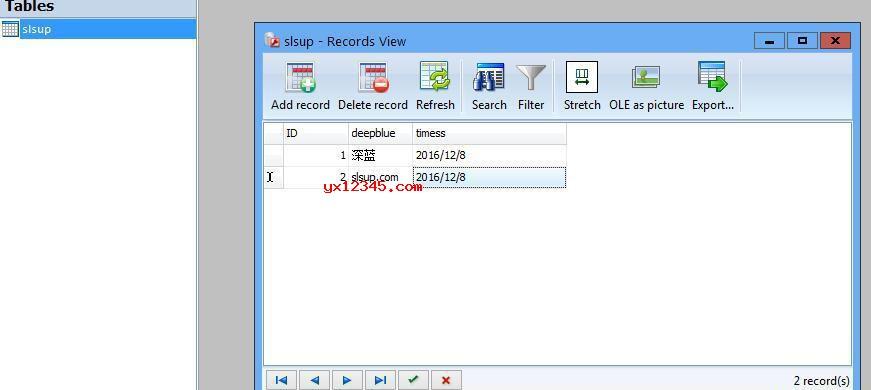 开始Access数据库的表结构设计并添加数据,最后保存就OK了。