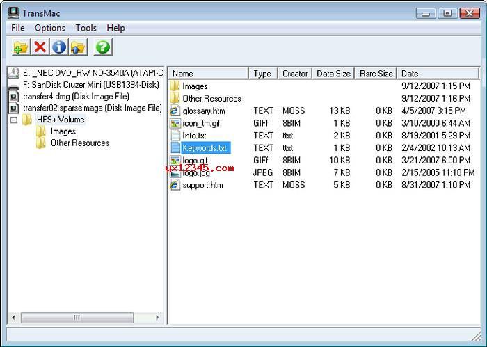 TransMac_在Windows系统下访问Mac分区打开dmg文件