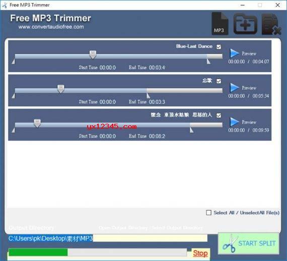 打开Free MP3 Trimmer,添加需要裁剪的MP3文件,用鼠标拖拉要剪掉的定位点,点击Preview预览裁剪片段,最后按START SPLIT按钮开始裁剪