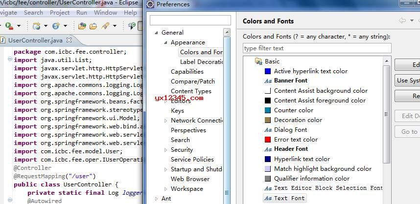 在Eclipse中使用混合字体效果