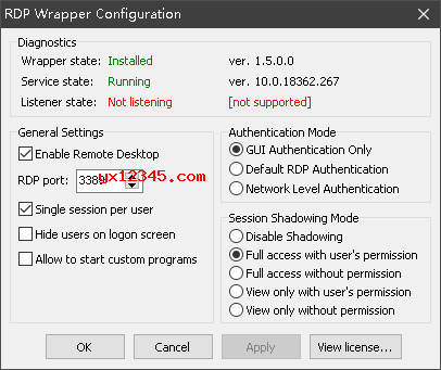 安装RDP Wrapper Library出现Not listening解决方法
