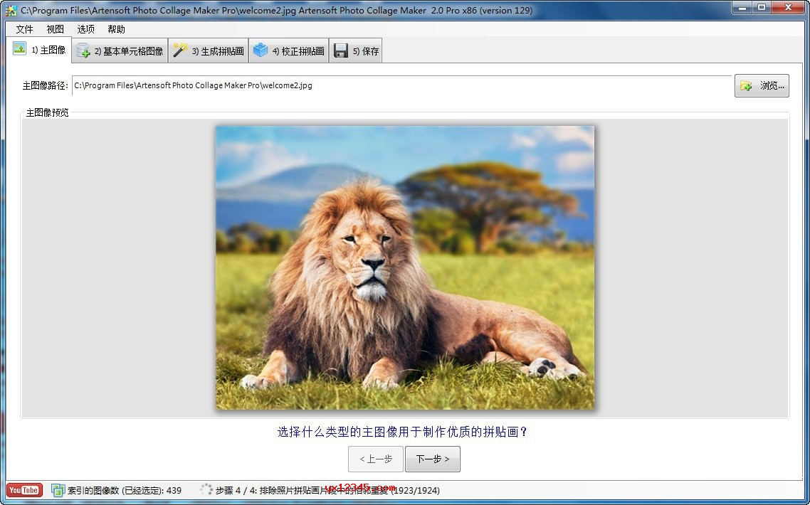 Artensoft Photo Collage Maker汉化破解版主图像设置界面
