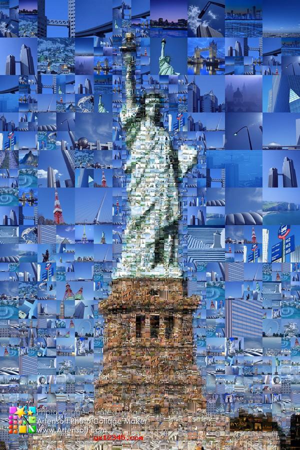 自由女神像照片拼贴效果