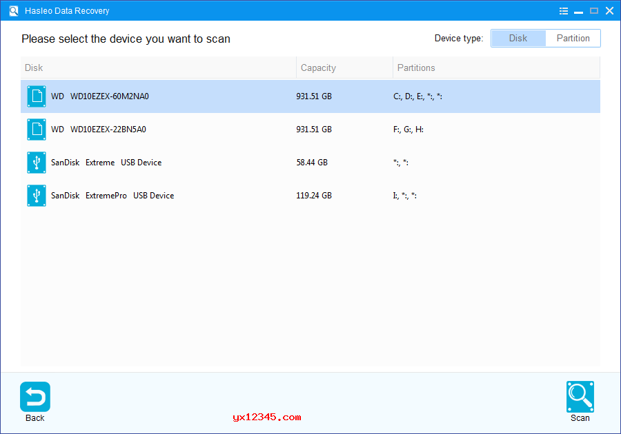"""打开Hasleo Data Recovery,选择BitLocker数据恢复模式,、选择意外删除或丢失BitLocker加密分区的硬盘驱动器,随后单击""""扫描""""按钮。"""