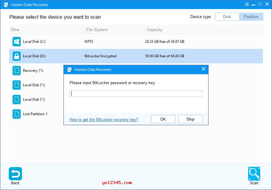 输入BitLocker密码或48位BitLocker恢复密钥