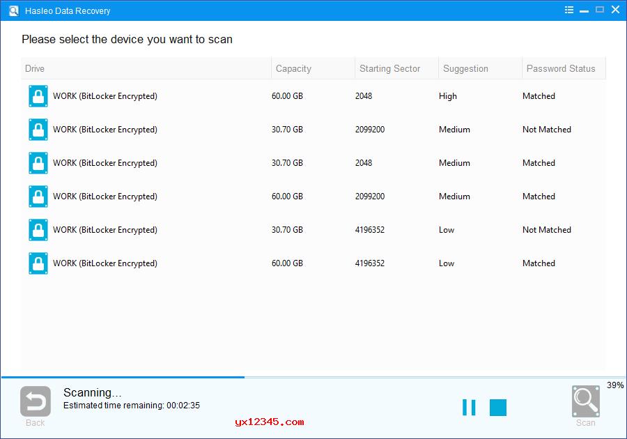 Hasleo Data Recovery将列出目标设备上所有找到的BitLocker加密分区