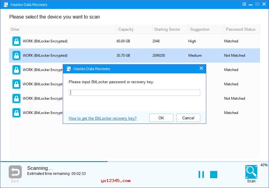 找到已删除或丢失的Bitlocker加密分区后,双击它。如果您之前输入了密码或BitLocker恢复密钥,Hasleo Data Recovery将开始扫描丢失的文件