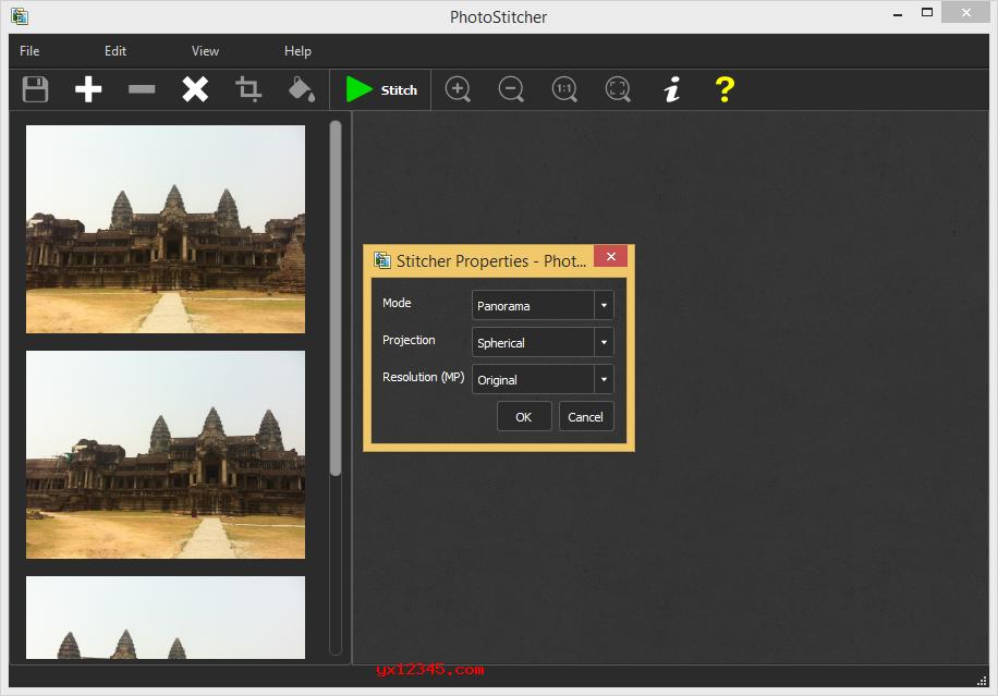 打开PhotoStitcher软件,点击左上角的+号按钮,把需要制作全景图的照片导入进来。