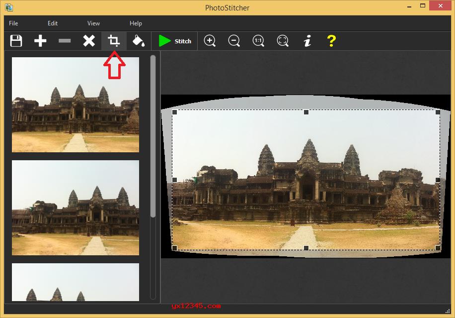 缝合照片并且启用自动裁剪功能