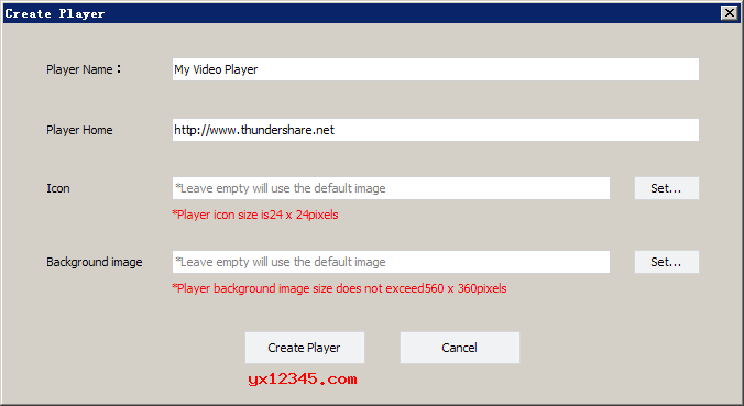 点击创建播放器,设置播放器名称,URL,图标,背景图片,随后创建播放器。