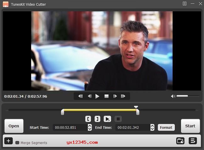 打开TunesKit Video Cutter软件,添加视频或音频文件