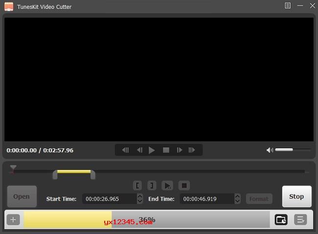 """点击""""格式""""按钮设置格式,随后单击""""开始""""按钮开始剪辑"""