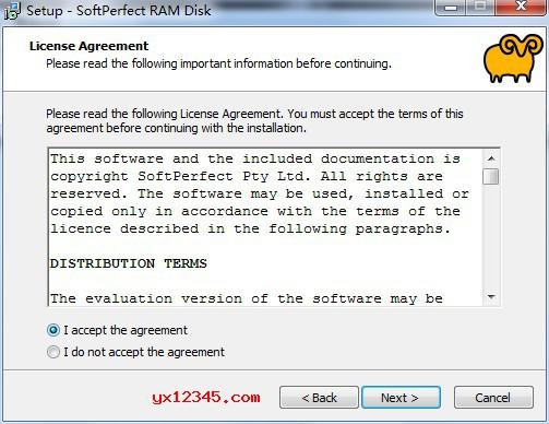 同意安装softperfect ram disk 协议,点击next下一步。