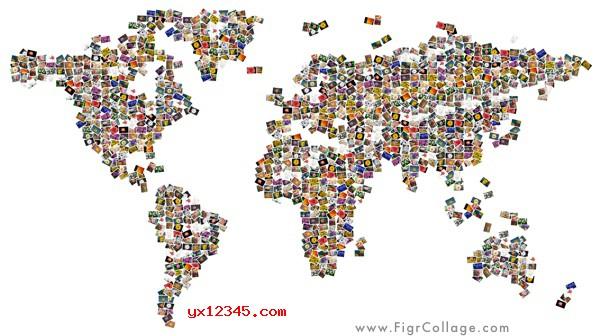 世界地图形状的照片拼贴效果