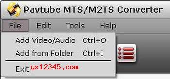 打开Pavtube MTS/M2TS Converter软件,导入源视频,音频与图像文件。