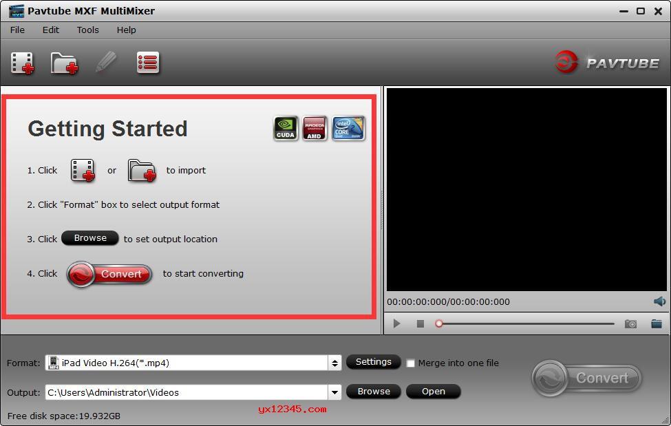打开Pavtube MXF MultiMixer软件,导入MXF文件
