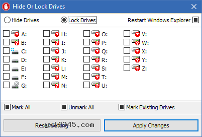 可以隐藏或锁定驱动器