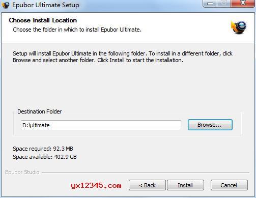 解压后双击epubor ultimate_setup.exe开始安装,第一步选择安装目录。
