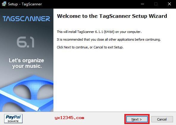 解压后运行tagscan-6.1.2_x64-setup.exe安装程序开始安装。