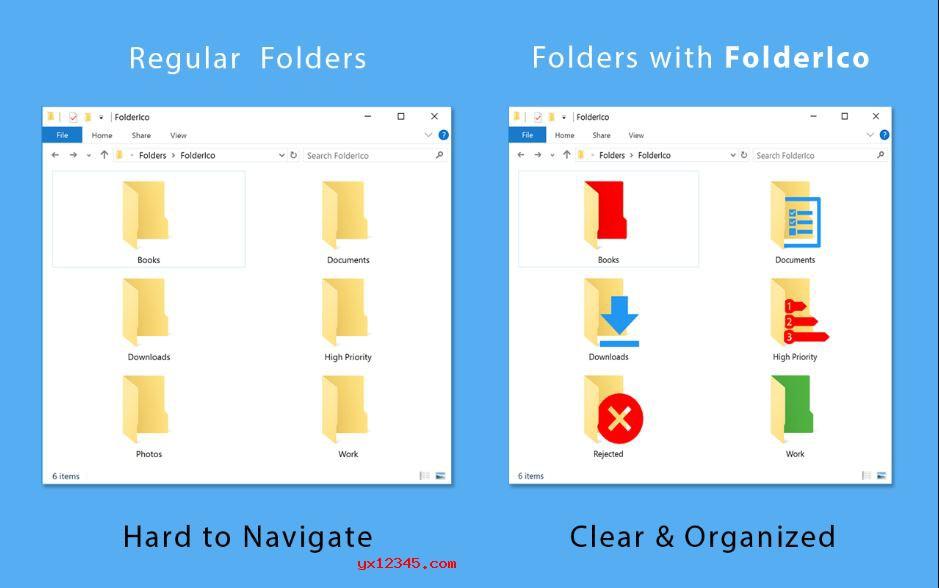FolderIco设置文件夹图标与颜色效果展示