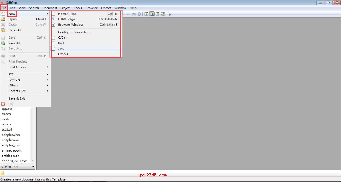 editplus选择创建文件类型方法