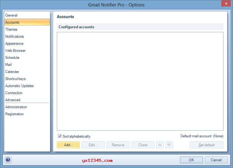 打开添加Gmail帐户对话框